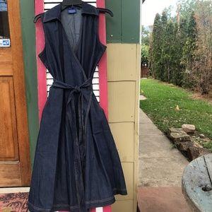 Pendleton Sleeveless Cotton Denim Wrap Dress